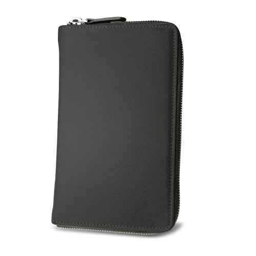 带拉链的旅行文件袋 - Noir PU