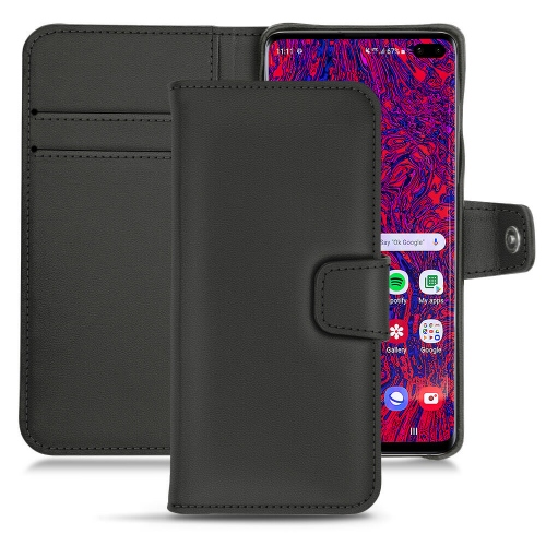 Samsung Galaxy S10+ leather case - Noir PU