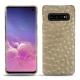 Coque cuir Samsung Galaxy S10 - Autruche desert