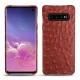 Coque cuir Samsung Galaxy S10 - Autruche ciliegia