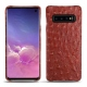 Samsung Galaxy S10 leather cover - Autruche ciliegia
