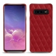 Coque cuir Samsung Galaxy S10 - Rouge - Couture ( Nappa - Pantone 199C )