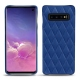 Samsung Galaxy S10 leather cover - Bleu océan - Couture ( Nappa - Pantone 293C )
