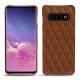 Coque cuir Samsung Galaxy S10 - Marron - Couture ( Nappa - Pantone 1615C )