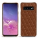 Samsung Galaxy S10 leather cover - Marron - Couture ( Nappa - Pantone 1615C )