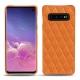 Coque cuir Samsung Galaxy S10 - Orange - Couture ( Nappa - Pantone 1495U )