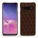 Coque cuir Samsung Galaxy S10 - Châtaigne - Couture ( Pantone 476C )