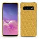 Coque cuir Samsung Galaxy S10 - Mimosa - Couture ( Pantone 141C )