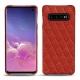 Coque cuir Samsung Galaxy S10 - Papaye - Couture ( Pantone 180C )