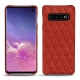 Samsung Galaxy S10 leather cover - Papaye - Couture ( Pantone 180C )