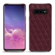 Samsung Galaxy S10 leather cover - Lie de vin - Couture ( Pantone 5115C )