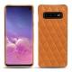 Coque cuir Samsung Galaxy S10 - Mandarine vintage - Couture