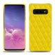 Samsung Galaxy S10 leather cover - Jaune fluo - Couture