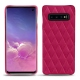 Coque cuir Samsung Galaxy S10 - Rose fluo - Couture