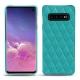 Coque cuir Samsung Galaxy S10 - Bleu fluo - Couture