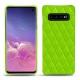 Coque cuir Samsung Galaxy S10 - Vert fluo - Couture