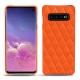 Coque cuir Samsung Galaxy S10 - Orange fluo - Couture