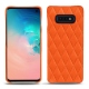 Coque cuir Samsung Galaxy S10E - Orange fluo - Couture