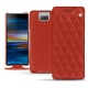 Housse cuir Sony Xperia 10 - Papaye - Couture ( Pantone 180C )