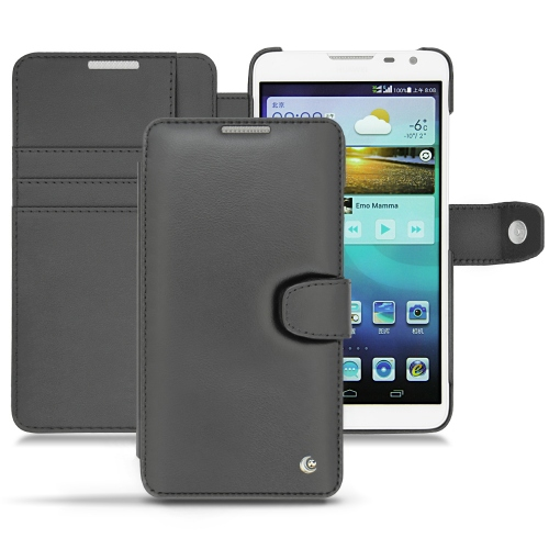 Huawei Ascend Mate 2 leather case - Noir ( Nappa - Black )