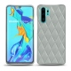 Huawei P30 Pro leather cover - Gris - Couture ( Nappa - Pantone W428C )