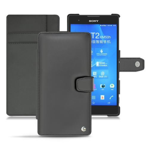 Sony Xperia T2 Ultra leather case - Noir ( Nappa - Black )