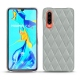 Huawei P30 leather cover - Gris - Couture ( Nappa - Pantone W428C )