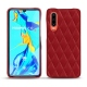 Huawei P30 leather cover - Rouge - Couture ( Nappa - Pantone 199C )