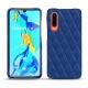 Huawei P30 leather cover - Bleu océan - Couture ( Nappa - Pantone 293C )