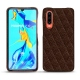 Huawei P30 leather cover - Châtaigne - Couture ( Pantone 476C )