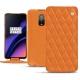 Housse cuir OnePlus 6T - Orange - Couture ( Nappa - Pantone 1495U )