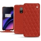 Housse cuir OnePlus 6T - Papaye - Couture ( Pantone 180C )