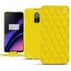 Housse cuir OnePlus 6T - Jaune fluo - Couture