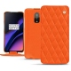Housse cuir OnePlus 6T - Orange fluo - Couture