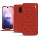Housse cuir OnePlus 7 - Papaye - Couture ( Pantone 180C )