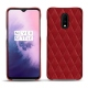OnePlus 7 leather cover - Rouge - Couture ( Nappa - Pantone 199C )