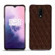 OnePlus 7 leather cover - Châtaigne - Couture ( Pantone 476C )