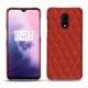 OnePlus 7 leather cover - Papaye - Couture ( Pantone 180C )