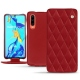 Housse cuir Huawei P30 - Rouge - Couture ( Nappa - Pantone 199C )