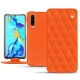 Housse cuir Huawei P30 - Orange fluo - Couture