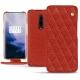 OnePlus 7 Pro leather case - Papaye - Couture ( Pantone 180C )