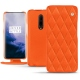 Housse cuir OnePlus 7 Pro - Orange fluo - Couture