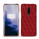 Coque cuir OnePlus 7 Pro - Rouge - Couture ( Nappa - Pantone 199C )