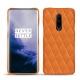 Coque cuir OnePlus 7 Pro - Orange - Couture ( Nappa - Pantone 1495U )