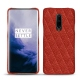 Coque cuir OnePlus 7 Pro - Papaye - Couture ( Pantone 180C )