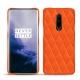 Coque cuir OnePlus 7 Pro - Orange fluo - Couture
