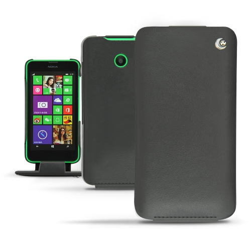 Nokia Lumia 630 - 635 leather case - Noir ( Nappa - Black )