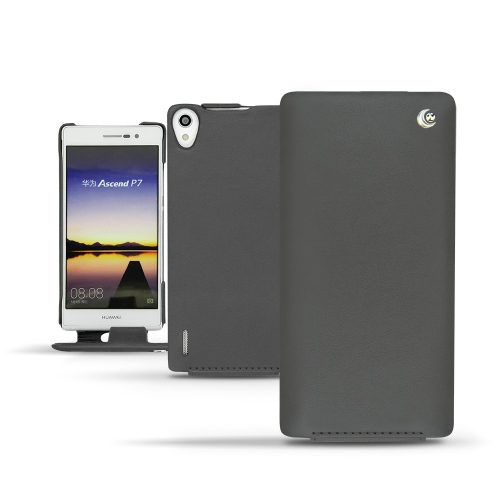 Huawei Ascend P7 leather case - Noir ( Nappa - Black )