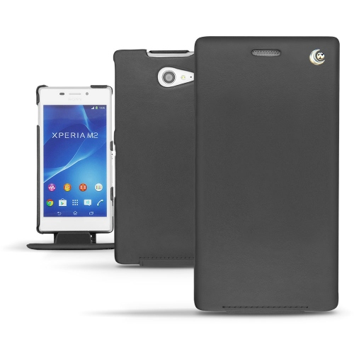Sony Xperia M2 leather case - Noir ( Nappa - Black )