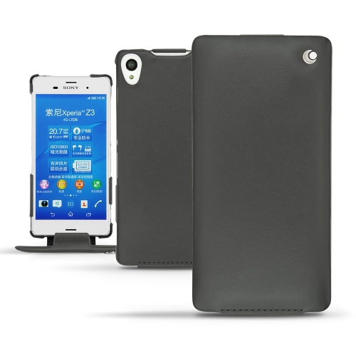 Sony Xperia Z3 leather case - Noir ( Nappa - Black )